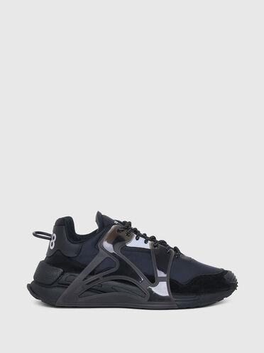 Sneaker im Layering-Design aus Nylon und Wildleder