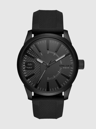 Rasp Schwarze Uhr aus Silikon, 46mm