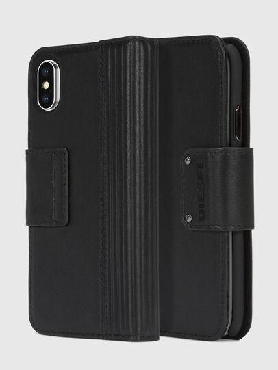 Diesel - BLACK LINED LEATHER IPHONE X FOLIO,  - Klappcover - Image 1