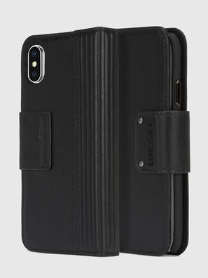 BLACK LINED LEATHER IPHONE X FOLIO, Schwarz - Klappcover
