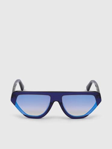 Geometrische Pilotenbrille aus Acetat in umlaufendem Design mit vergrößerten Gläsern