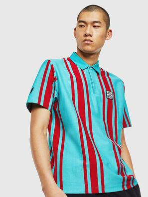 T-POLO-STRIP, Blau/Rot - Polohemden