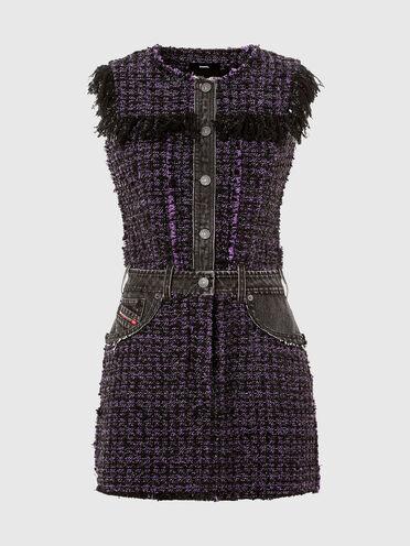 Kleid aus Bouclé-Wolle mit Denimdetails
