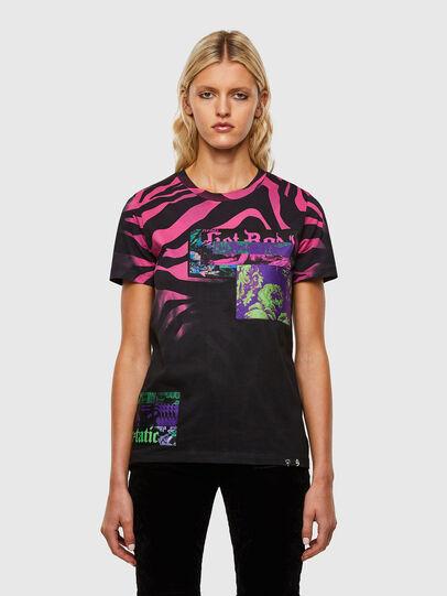 Diesel - T-SILY-R3, Schwarz/Rosa - T-Shirts - Image 1