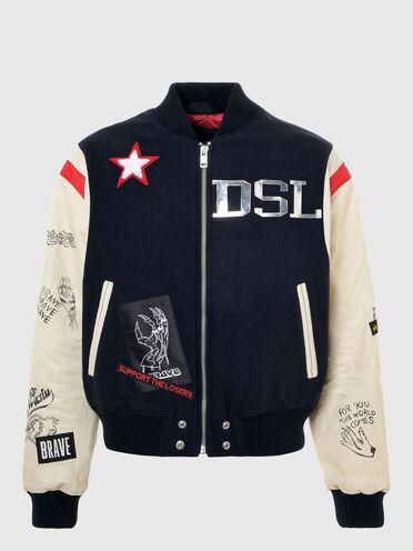 College-Jacke aus Wolle und Leder
