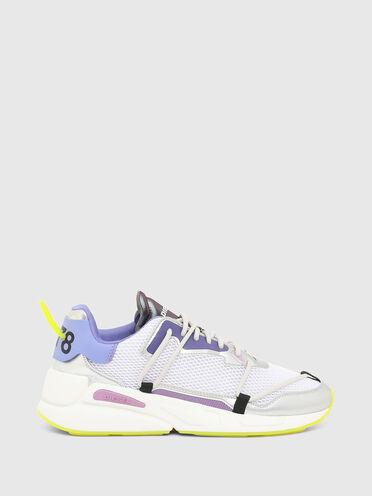 Sneaker aus Mesh-Gewebe und Metallic Leder