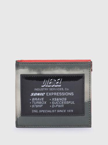 Faltportemonnaie aus technischem Gewebe in Bleach-Optik
