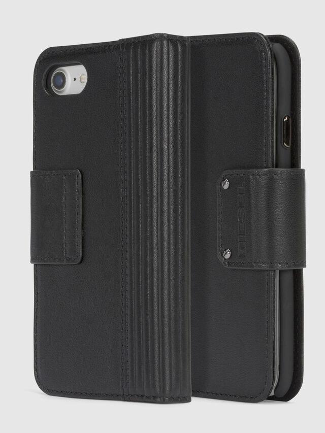 Diesel - BLACK LINED LEATHER IPHONE 8/7 FOLIO, Schwarz - Klappcover - Image 1