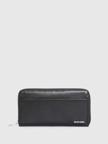Portemonnaie mit umlaufendem Reißverschluss und Farbakzenten