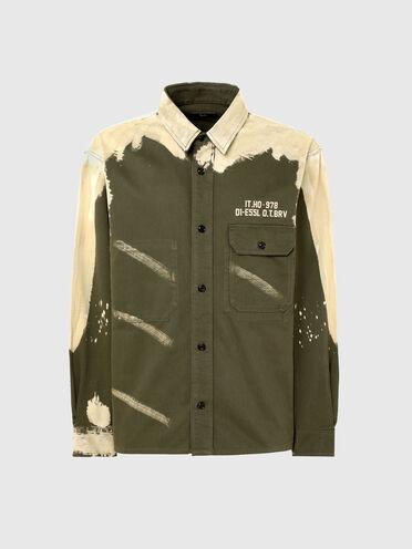 Hemd aus Satin mit Bleach-Effekt