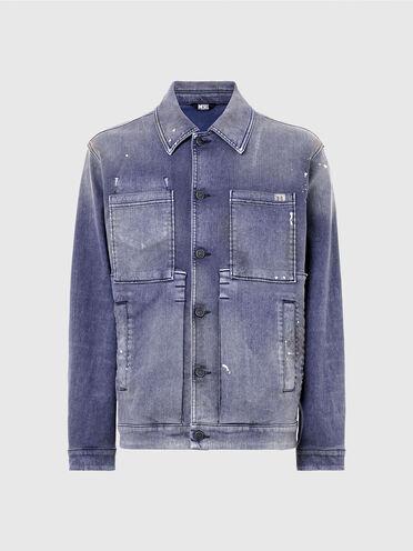 Jacke im Workwear-Stil aus überfärbtem Samt-Denim
