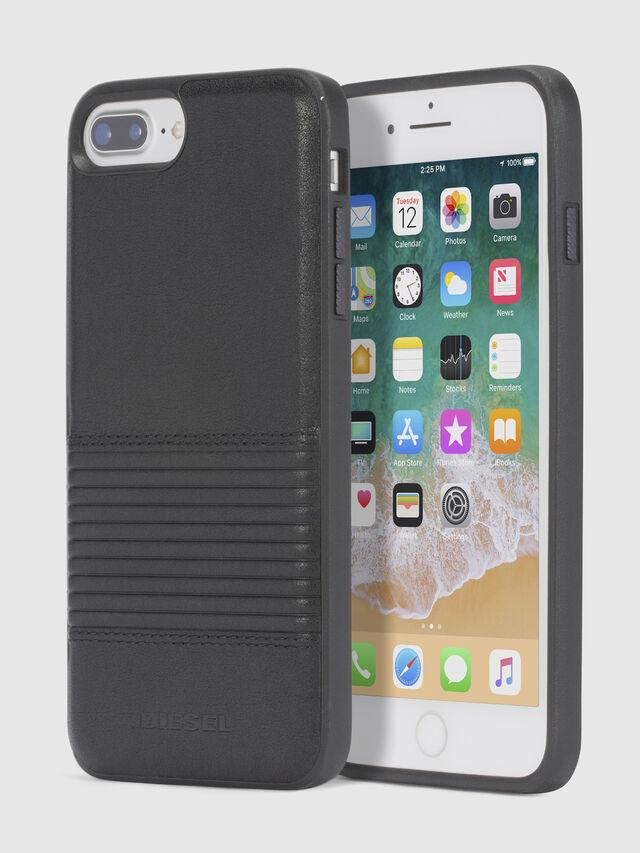 Diesel - BLACK LINED LEATHER IPHONE 8/7/6s/6 CASE, Schwarz - Schutzhüllen - Image 1