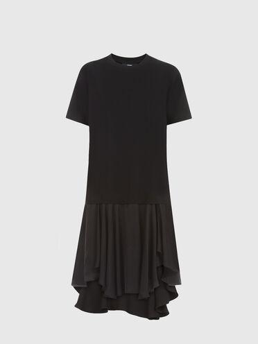 Asymmetrisches Kleid aus Jersey und Satin