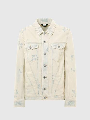 Jeansjacke mit Bleicheffekten