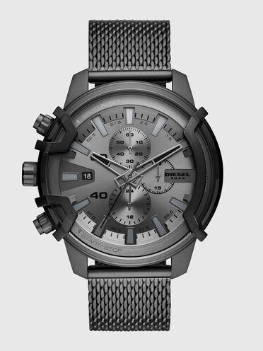 Metallgraue Griffed-Armbanduhr aus Edelstahl mit Chronograph-Anzeige