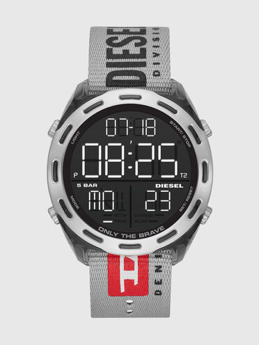 Crusher Armbanduhr mit digitalem Ziffernblatt und grauem Nylonarmband