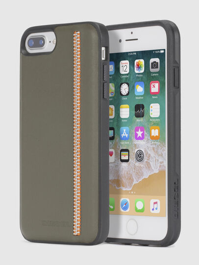 Diesel - ZIP OLIVE LEATHER IPHONE 8 PLUS/7 PLUS/6s PLUS/6 PLUS CASE, Olivgrün - Schutzhüllen - Image 1