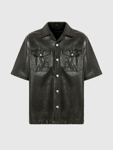 Kurzärmeliges Hemd aus Leder