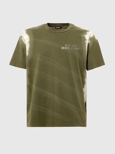 Pigmentgefärbtes T-Shirt mit Bleicheffekten