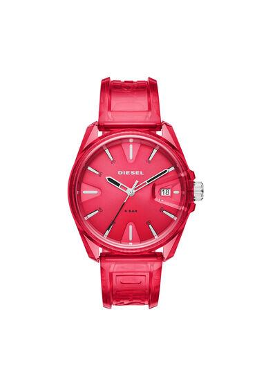 MS9-Armbanduhr mit drei Zeigern und transparent rotem Armband