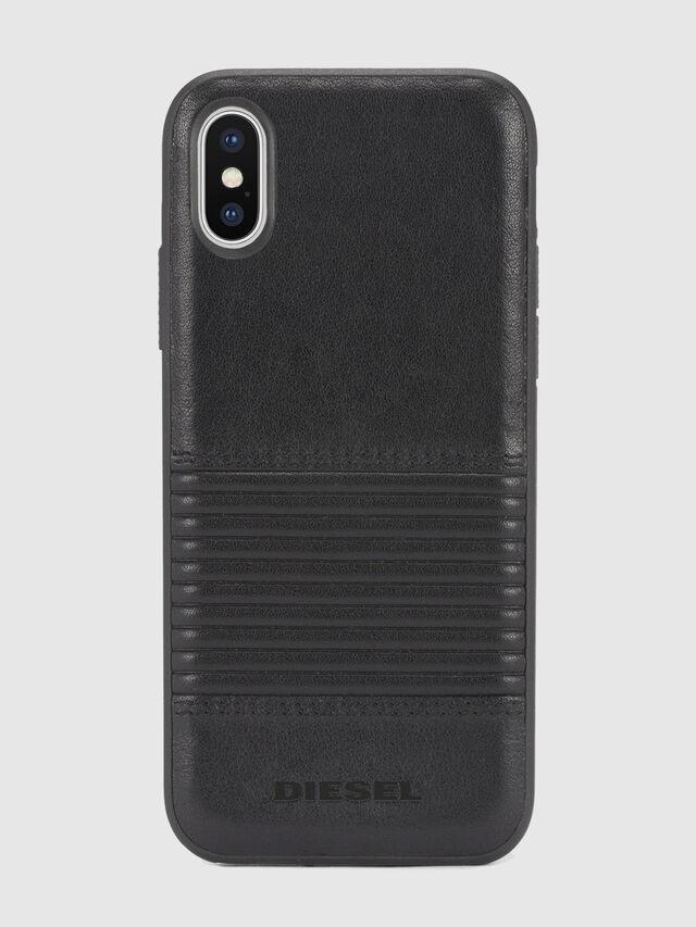 BLACK LINED LEATHER IPHONE X CASE, Lederschwarz