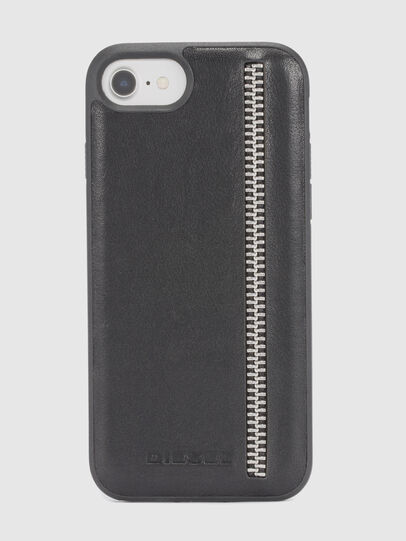 Diesel - ZIP BLACK LEATHER IPHONE 8 PLUS/7 PLUS/6s PLUS/6 PLUS CASE, Schwarz - Schutzhüllen - Image 2