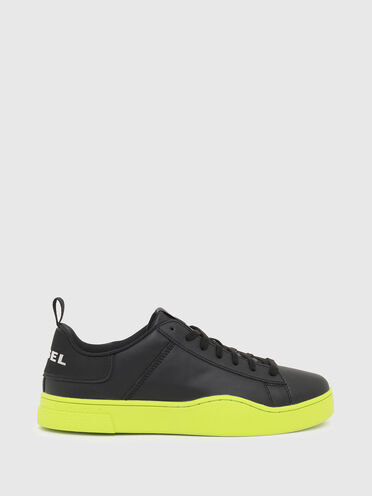 Sneaker aus Leder mit kontrastierender Sohle