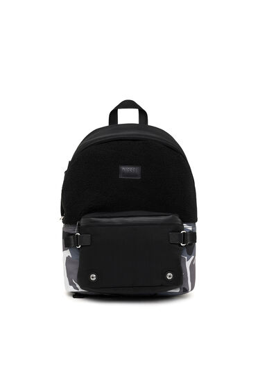 Rucksack aus Kunstfell und Nylon