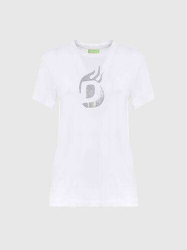 Nachhaltig hergestelltes T-Shirt mit Diesel-Logos und Ziernieten