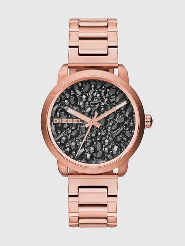 Rosa Uhr mit Steinen im Zifferblatt