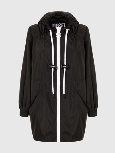 Lange Jacke mit kontrastierenden Details