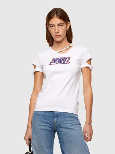 T-Shirt mit Cutout-Details und DSL-Logo