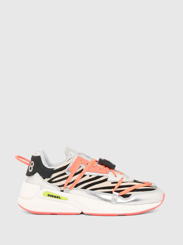 Auffällige Sneaker aus Ponyhaar mit Zebrafellmuster