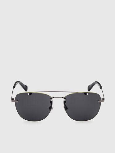 Leichte quadratische Metall-Sonnenbrille mit Doppelsteg