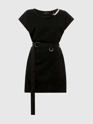 Kurzes Jersey-Kleid mit D-Ring-Gürtel