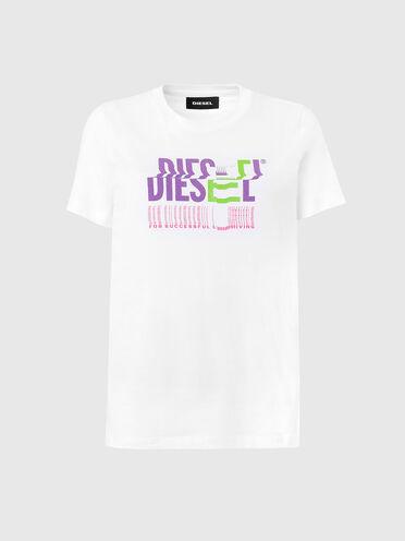 Baumwoll-T-Shirt mit verzerrtem Logo