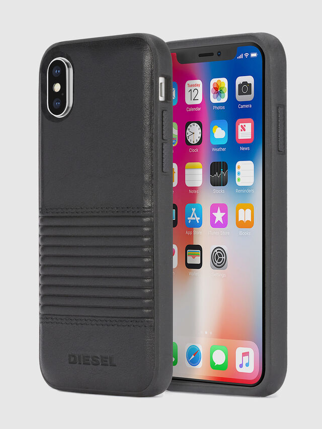 BLACK LINED LEATHER IPHONE X CASE, Schwarz