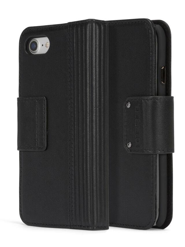 Diesel - BLACK LINED LEATHER IPHONE 8 PLUS/7 PLUS FOLIO, Schwarz - Klappcover - Image 3