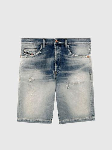 Gerade geschnittene Shorts aus Denim mit Schattierungen und Destroyed-Details