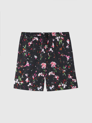 Shorts aus Twill mit Blumenmuster