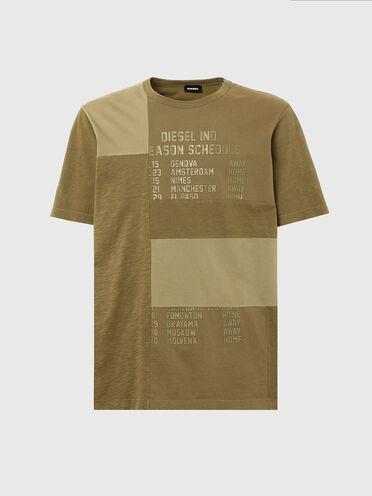 Patchwork-T-Shirt mit Schedule-Aufdruck