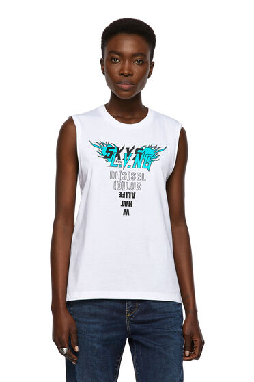 Ärmelloses T-Shirt mit Print vorn