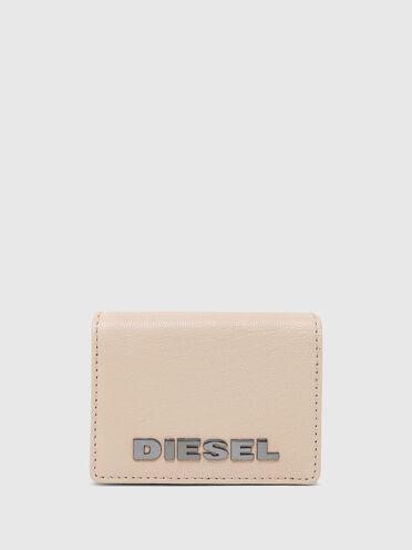 Zweifach aufklappbares Portemonnaie aus einfarbigem Leder
