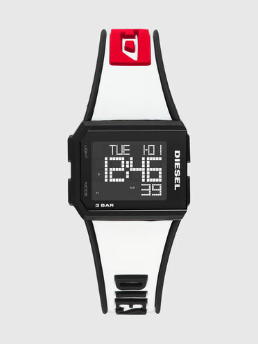 Chopped-Armbanduhr mit Digitalanzeige und weißem Silikonarmband