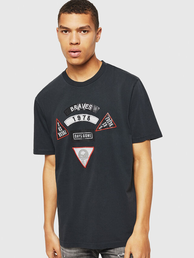Diesel - PS-T-JUST-RIBS, Schwarz - T-Shirts - Image 1