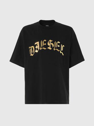 T-Shirt mit Diesel-Logo in Metallic-Optik