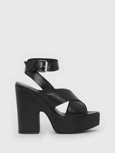 Sandaletten aus Leder mit Plateauabsatz