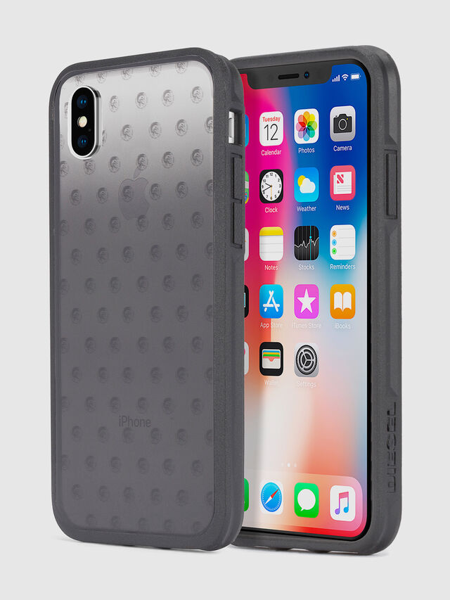 MOHICAN HEAD DOTS BLACK IPHONE X CASE, Schwarz