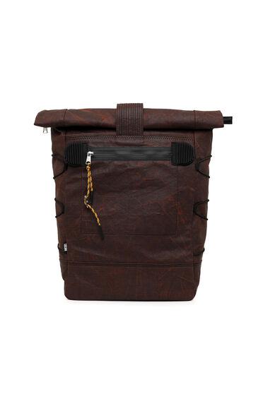 Rucksack mit Rollöffnung aus gewachstem Denim