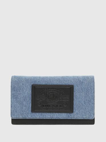 Handtaschen-Portemonnaie aus Denim in Zweitonoptik